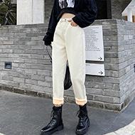 牛仔裤女2020新款加绒加厚显瘦高腰宽松直筒阔腿哈伦萝卜老爹裤子