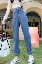 哈伦牛仔裤女2021年新款直筒宽松小个子九分大码高腰萝卜老爹裤子