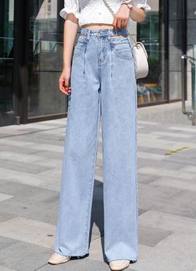 夏季超薄软牛仔裤双层高腰阔腿裤女显瘦垂感薄款宽松冰氧吧直筒裤