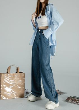 91086#阔腿牛仔裤女秋季2021年新款高腰显瘦直筒小个子宽松拖地裤