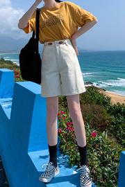 五分牛仔裤女春夏2021年新款中裤宽松直筒港味高腰显瘦短裤5分潮