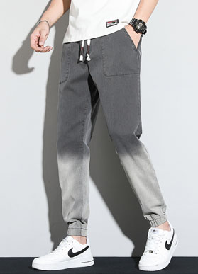 987#  白墙背景 新款牛仔裤男士宽松休闲长裤韩版潮流夏季九分裤