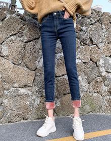 高腰牛仔裤女2020秋冬新款加绒百搭显瘦显高小脚铅笔裤子