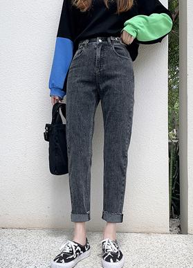 哈伦裤女秋季时尚棉弹女裤2021新款宽松舒适裤子女显瘦牛仔裤