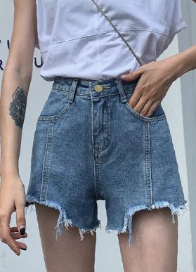 休闲牛仔短裤女2020春夏款a字破洞不规则韩版休闲显瘦宽松牛仔裤
