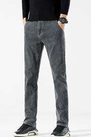 秋季牛仔裤男弹力修身小脚2021年新款灰色男