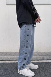 2021春夏港风串标印花小熊牛仔裤男宽松直筒复古蓝水洗百搭长裤子