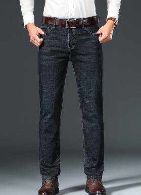 红牛盾牛仔裤男士新款中年休闲男裤子商务宽松直筒弹力长裤8938H