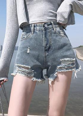 浅蓝破洞短裤女2020夏季新款高腰显瘦小个子百搭显腿长牛仔短裤潮