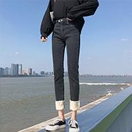 高腰牛仔裤女2020冬季加绒加绒弹力修身紧身小脚裤九分铅笔裤女潮