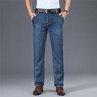 莫代尔新款男式牛仔裤夏季超薄款中年高腰宽松直筒冰丝休闲裤8968