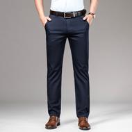 夏季薄款西裤男宽松大码男裤弹力直筒男士休闲裤冰丝长裤子