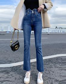 【牛仔城】【高品质】2021新款高腰显高显瘦紧身时尚喇叭裤