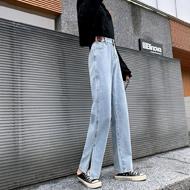 浅蓝高腰牛仔裤女装20新款脚开叉拖地裤潮简约牛仔长裤高腰显瘦裤