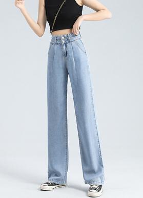 天丝阔腿高腰牛仔裤女2021春夏薄款显瘦宽松垂感冰丝拖地裤子