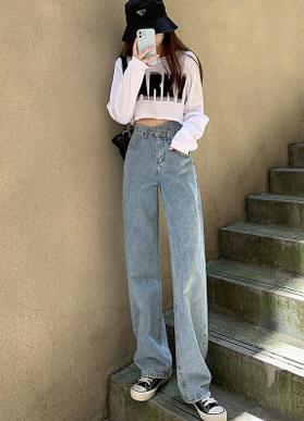 高品质  2021年新款牛仔裤女直筒宽松高不规则腰复古阔腿裤子春秋