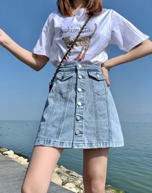 牛仔短裙女早春高腰半身裙显瘦a字裙夏季韩版新款复古包臀裙子潮