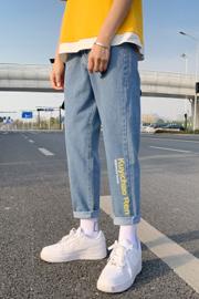 印花字母哈伦牛仔裤男九分裤 2021春季新款韩版老爹裤青年小脚裤