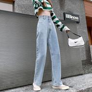 牛仔阔腿长裤女韩版浅蓝港风复古牛仔新款小个子高腰显瘦裤子宽松