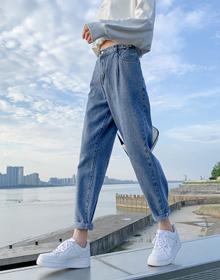 韩版牛仔裤长裤垂感直筒阔腿裤高腰显瘦20秋冬学院风休闲裤女装