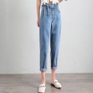 绑带牛仔裤2020夏装新款冰氧吧凉感宽松老爹裤萝卜裤显瘦百搭九分