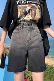五分牛仔裤女夏2021年新款中裤宽松直筒渐变色高腰显瘦短裤5分裤