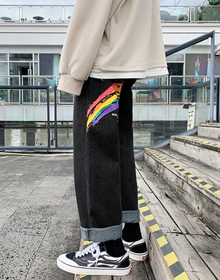 2020秋新款彩虹印花牛仔裤男港风宽松直筒休闲裤P35  限59