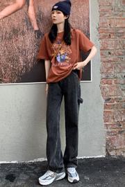 复古高腰超A牛仔裤女阔腿直筒百搭灰色浅色裤子显瘦韩版潮流春秋