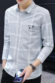 2021春夏款长袖衬衫男韩版修身寸衫男
