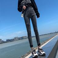 高腰黑灰牛仔裤女秋季2020新款修身紧身弹力百搭显瘦铅笔长裤女装