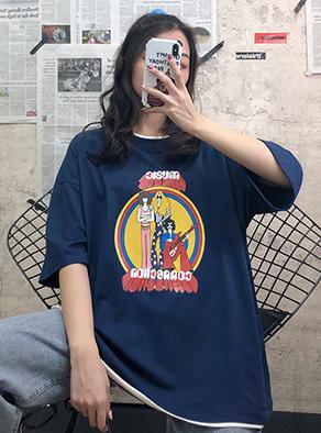 JY42# 实拍 6535拉架棉 假两件短袖T恤女春夏季宽松原宿风上衣