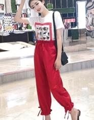 1190#【实拍】休闲运动套装短袖T恤+九分裤子显瘦束脚裤两件套装