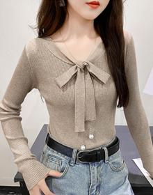 6801#实拍 韩版气质修身长袖针织蝴蝶结系带纯色打底衫2021年秋冬