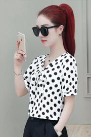 2020夏季新款韩版V领波点印花打底衫衬衣女短袖洋气雪纺衫上衣女