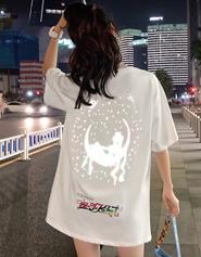917#【实拍 纯棉】反光渐变美少女动漫印花宽松网红潮牌短袖T恤女