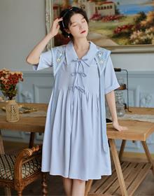 实拍限价+30  复古可拆卸绣花领长裙 文艺学院风两件套连衣裙
