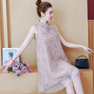 实拍现货8931大码女装中国风A字无袖气质仙女碎花网纱连衣裙夏款