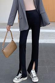 【实拍】垂感开叉喇叭裤女2020秋装新款韩版高腰显瘦微喇西装裤女