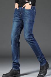 秋冬款男士牛仔裤韩版修身青年款直筒牛仔长裤子