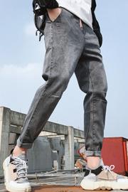 2020秋冬新款牛仔裤男士潮牌韩版高端百搭加绒修身小脚长裤子男裤