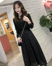 碎花连衣裙2021春季新款女装洋气显瘦气质长款长袖雪纺长裙