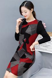 实拍秋冬新款长袖毛呢连衣裙修身显瘦加厚中年女装打底裙子中长款