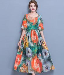 1893#维诺诗2017新款真丝连衣裙女夏季桑蚕丝长裙波西米亚沙滩裙