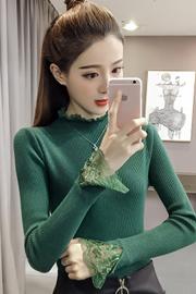 806#2017新款韩版修身套头蕾丝花边打底女潮