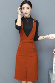 实拍8326#秋冬装新款时尚毛呢套装连衣裙韩版背带两件套打底裙
