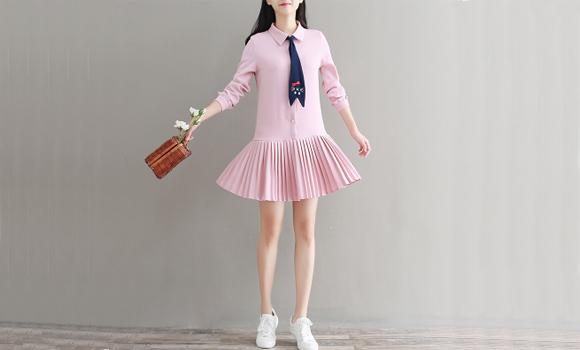 收腰a字性感显瘦长袖镂空v领中长款水墨花卉气质连衣裙