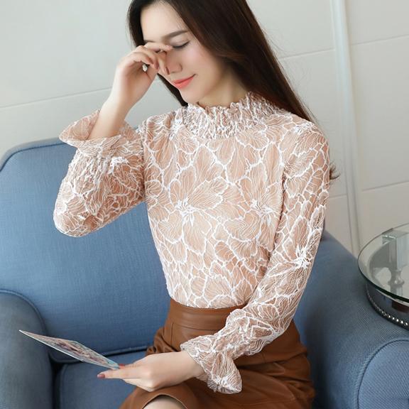 实拍6061 加绒打底衫秋2017新款女韩版蕾丝长袖上衣加厚保暖小衫