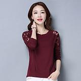 实拍大码女装蝙蝠袖T恤2018新款棉质韩版长袖圆领绣花蕾丝打底衫