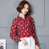 实拍6013 秋季新款韩版长袖衬衫 百搭短款宽松女式雪纺上衣