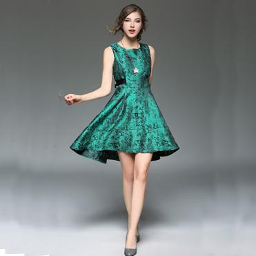 实拍现货8041新款女装新款重工提花系带修身燕尾大摆背心连衣裙